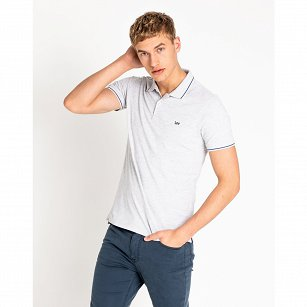 T-SHIRT MĘSKI LEE PIQUE POLO SHARP GREY MELE L61ARL03
